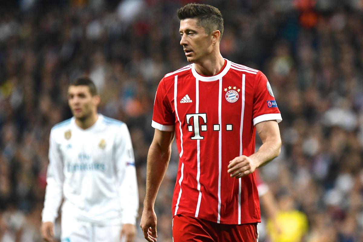 Robert Lewandowski of FC Bayern Munich during the UEFA Champions League Semi-Final match at the Estadio Santiago Bernabeu, Madrid Picture by Kristian Kane/Focus Images Ltd +44 7814 482222 01/05/2018