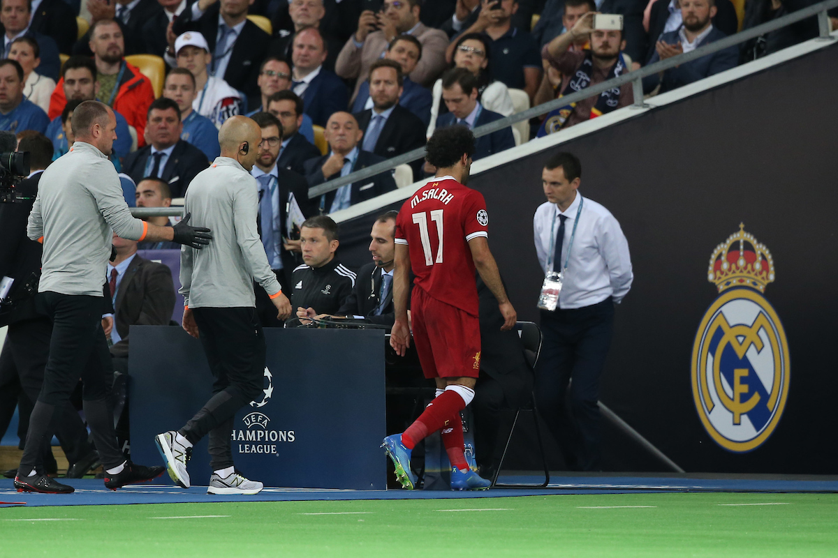 Mohamed Salah of Liverpool has to leave the match through injury the UEFA Champions League Final at the Olympic Stadium, Kiev Picture by Paul Chesterton/Focus Images Ltd +44 7904 640267 26/05/2018