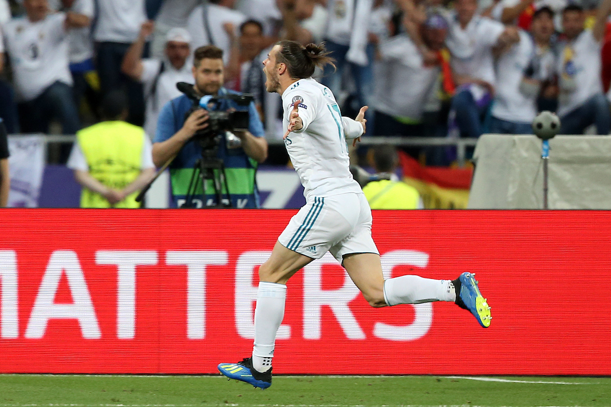 Gareth Bale of Real Madrid celebrates scoring his sides 2nd goal during the UEFA Champions League Final at the Olympic Stadium, Kiev Picture by Paul Chesterton/Focus Images Ltd +44 7904 640267 26/05/2018