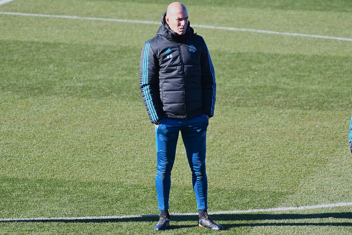 Real Madrid manager Zinédine Zidane during training at Ciudad Deportiva de Majadahonda, Madrid Picture by Kristian Kane/Focus Images Ltd +44 7814 482222 05/12/2017