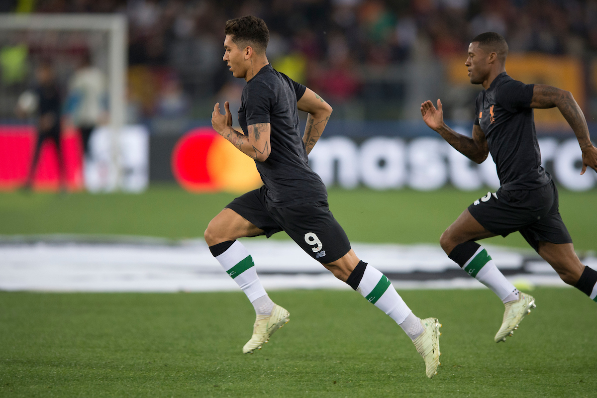 Roberto Firmino of Liverpool warms up before the UEFA Champions League Semi-Final match at the Stadio Olimpico, Rome Picture by Russell Hart/Focus Images Ltd 07791 688 420 02/05/2018