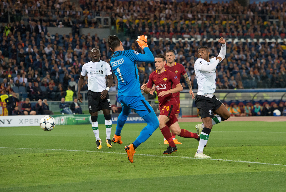 Georginio Wijnaldum of Liverpool scores his team's 2nd goal to make it 2-1 during the UEFA Champions League Semi-Final match at the Stadio Olimpico, Rome Picture by Russell Hart/Focus Images Ltd 07791 688 420 02/05/2018