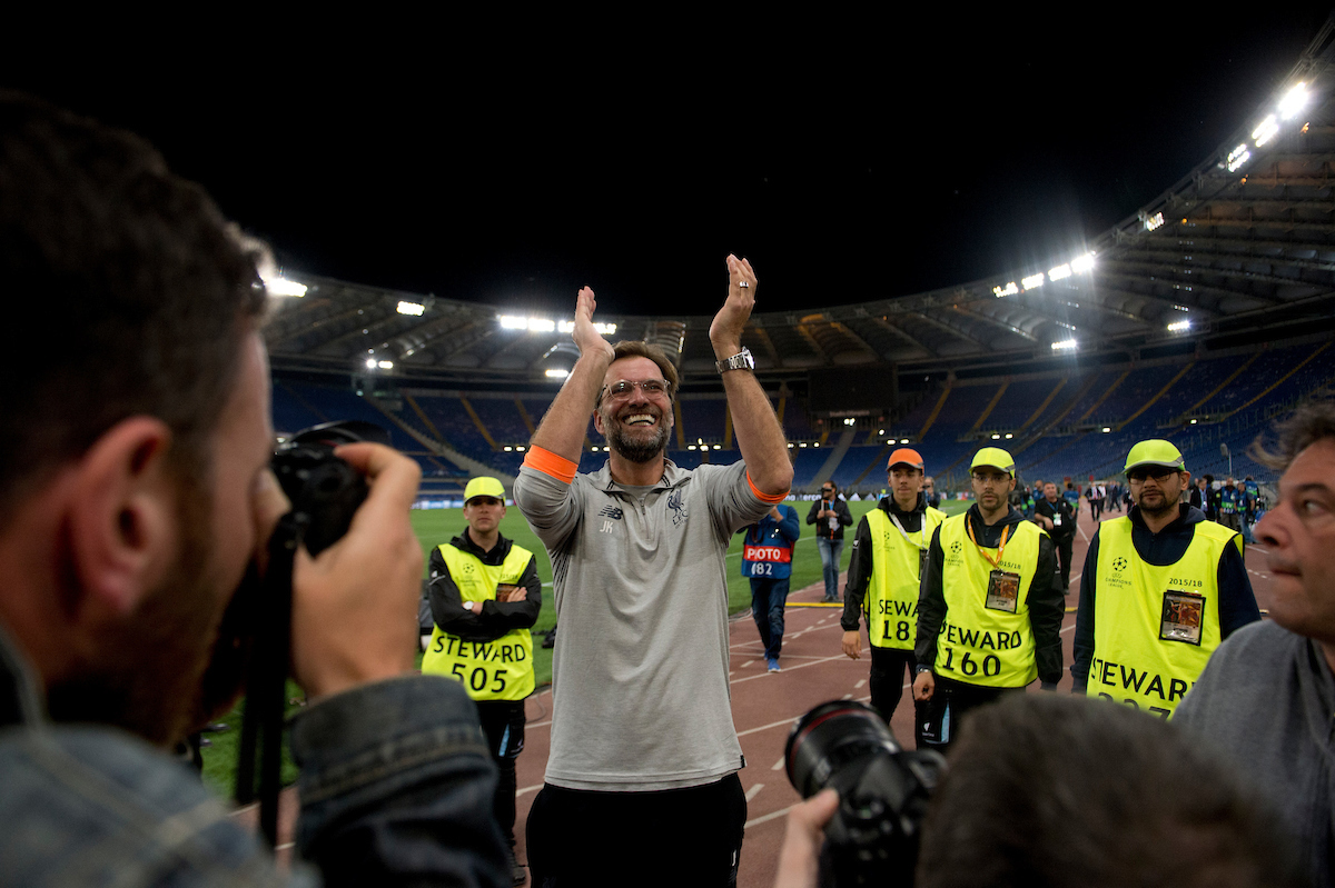 Liverpool manager Jurgen Klopp applauds his team's supporters following the UEFA Champions League Semi-Final match at the Stadio Olimpico, Rome Picture by Russell Hart/Focus Images Ltd 07791 688 420 02/05/2018