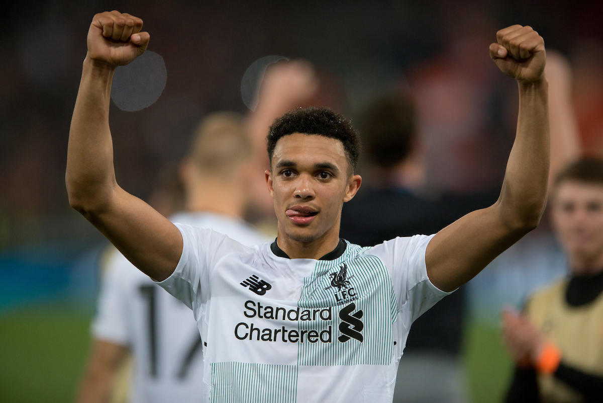Trent Alexander-Arnold of Liverpool celebrates following the UEFA Champions League Semi-Final match at the Stadio Olimpico, Rome Picture by Russell Hart/Focus Images Ltd 07791 688 420 02/05/2018