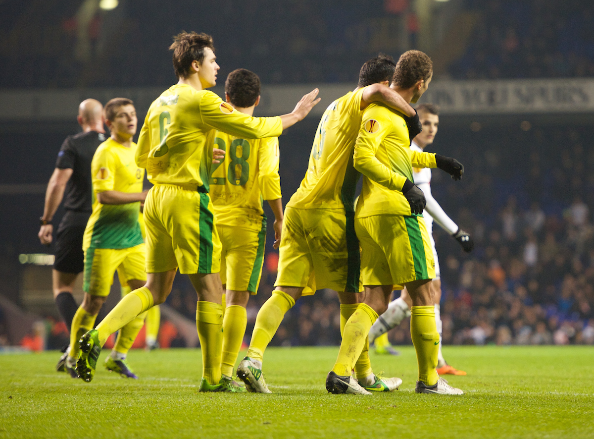 Picture by Alan Stanford/Focus Images Ltd +44 7915 056117 12/12/2013 Ewerton of Anzhi Makhachkala celebrates after scoring with his team mates during the UEFA Europa League match at White Hart Lane, London.