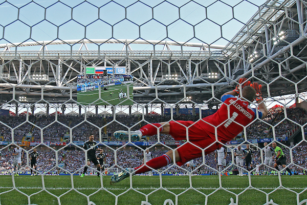 Hannes Halldorsson of Iceland saves a penalty kick by Lionel Messi of Argentina during the 2018 FIFA World Cup match at Spartak Stadium, Moscow Picture by Paul Chesterton/Focus Images Ltd +44 7904 640267 16/06/2018