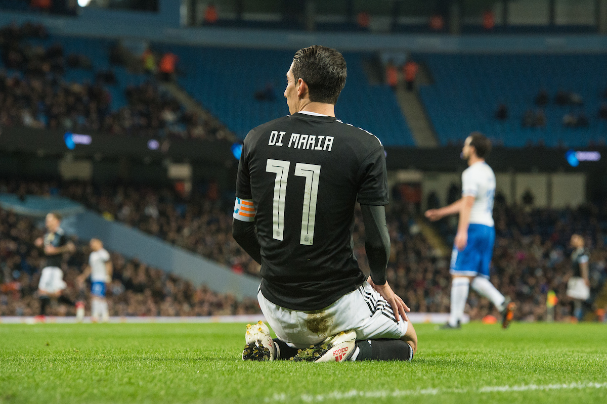 Angel Di Maria of Argentina after missing a goal opportunity during the International Friendly match at the Etihad Stadium, Manchester Picture by Matt Wilkinson/Focus Images Ltd 07814 960751 23/03/2018