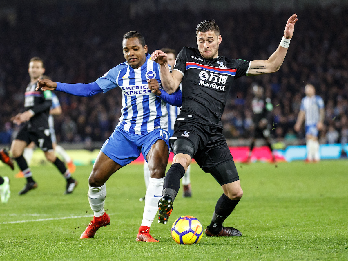 Joel Ward of Crystal Palace battle for possession with Jose Izquierdo of Brighton & Hove Albion during the Premier League match at the American Express Community Stadium, Brighton and Hove Picture by Liam McAvoy/Focus Images Ltd 07413 543156 28/11/2017