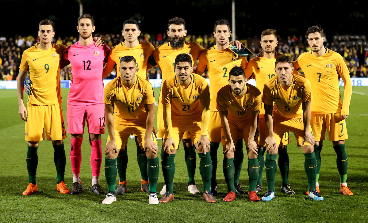 Australia team line up. Back row, left to right:  Tomi Juric, Brad Jones, Tom Rogic, Mile Jedinak, Milos Degenek, Josh Risdon and Mathew Leckie. Front row, left to right: Andrew Nabbout, Massimo Luongo, Aziz Behich, Aziz Behich and Mark Milligan. During the International Friendly match at Craven Cottage, London Picture by Daniel Hambury/Focus Images Ltd 07813022858 27/03/2018
