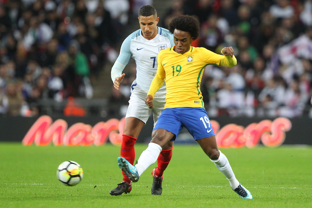 Jake Livermore of England and Willian of Brazil in action during the International Friendly match at Wembley Stadium, London Picture by Paul Chesterton/Focus Images Ltd +44 7904 640267 14/11/2017