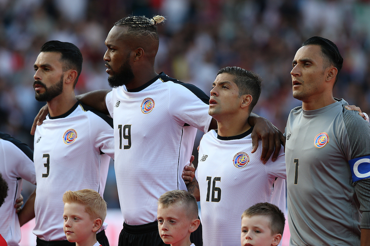 The Costa Rica players sing the National Anthem before the International Friendly match at Wembley Stadium, London Picture by Paul Chesterton/Focus Images Ltd +44 7904 640267 07/06/2018