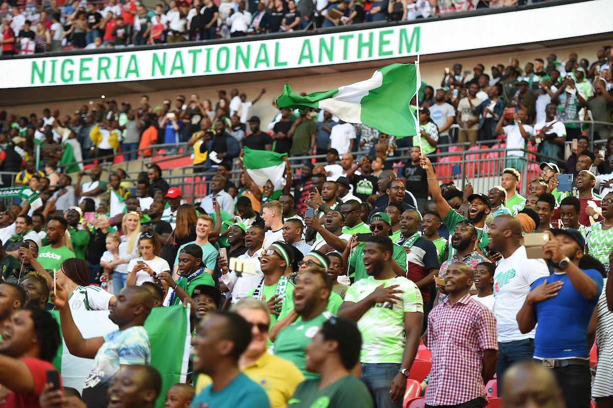 Nigeria fans sing their national anthem during the International Friendly match at Wembley Stadium, London Picture by Daniel Hambury/Focus Images Ltd 07813022858 02/06/2018