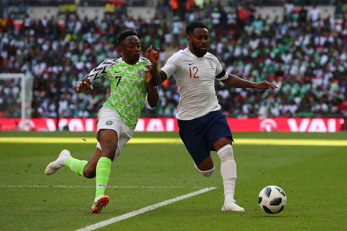 Ahmed Musa of Nigeria and Danny Rose of England in action during the International Friendly match at Wembley Stadium, London Picture by Paul Chesterton/Focus Images Ltd +44 7904 640267 02/06/2018