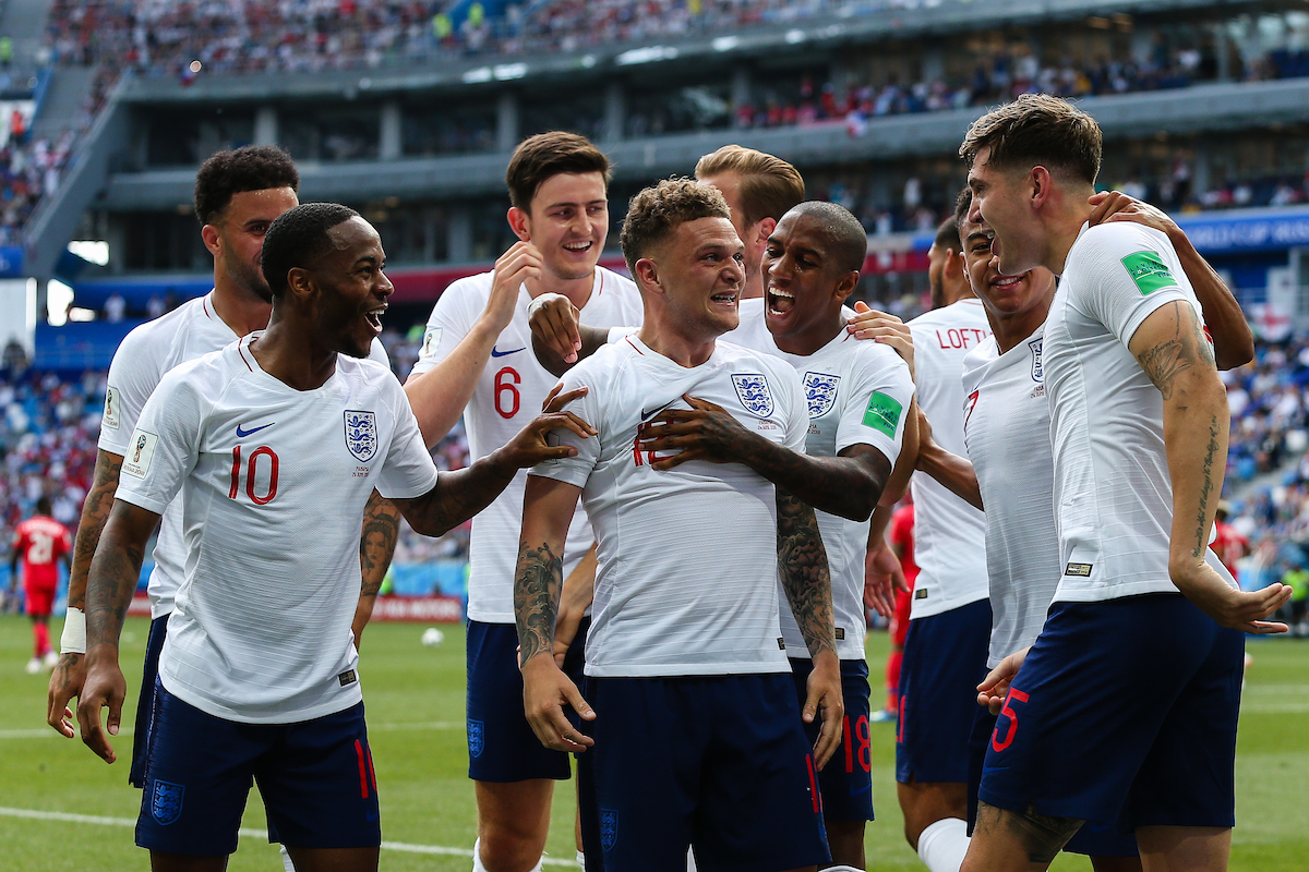 England players celebrate John Stone's first goal for England against Panama 2018 FIFA World Cup match at Nizhny Novgorod Stadium, Nizhny Novgorod Picture by Paul Chesterton/Focus Images Ltd +44 7904 640267 24/06/2018