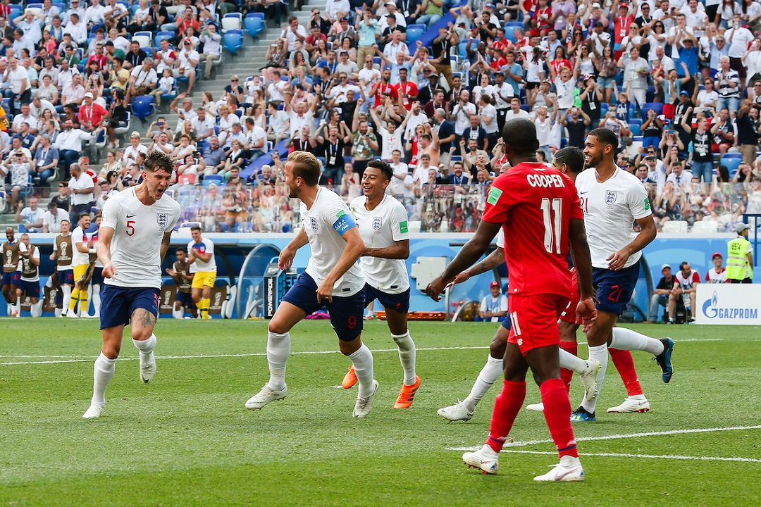 John Stones of England celebrates scoring their fourth goal against Panama with team mates during the 2018 FIFA World Cup match at Nizhny Novgorod Stadium, Nizhny Novgorod Picture by Paul Chesterton/Focus Images Ltd +44 7904 640267 24/06/2018
