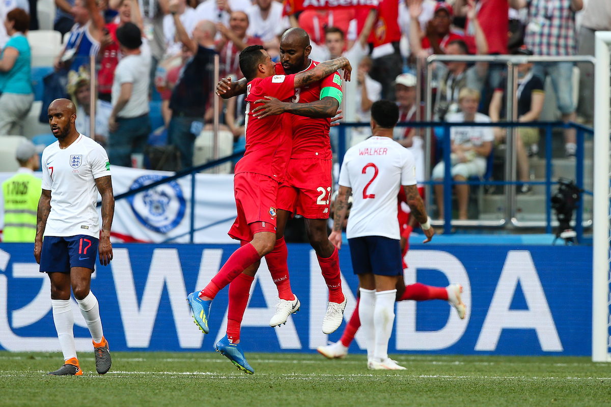 Felipe Baloy (c) of Panama celebrates scoring their first goal against England during the 2018 FIFA World Cup match at Nizhny Novgorod Stadium, Nizhny Novgorod Picture by Paul Chesterton/Focus Images Ltd +44 7904 640267 24/06/2018