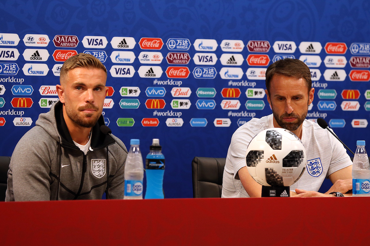 Jordan Henderson of England and England Manager Gareth Southgate during the England press conference at Nizhny Novgorod Stadium, Nizhny Novgorod Picture by Paul Chesterton/Focus Images Ltd +44 7904 640267 23/06/2018