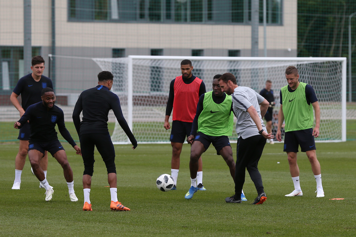 England Manager Gareth Southgate joins in the action during the England training session at Stadium Spartak Zelenogorsk , England's training base, Zelenogorsk, Russia Picture by Paul Chesterton/Focus Images Ltd +44 7904 640267 13/06/2018