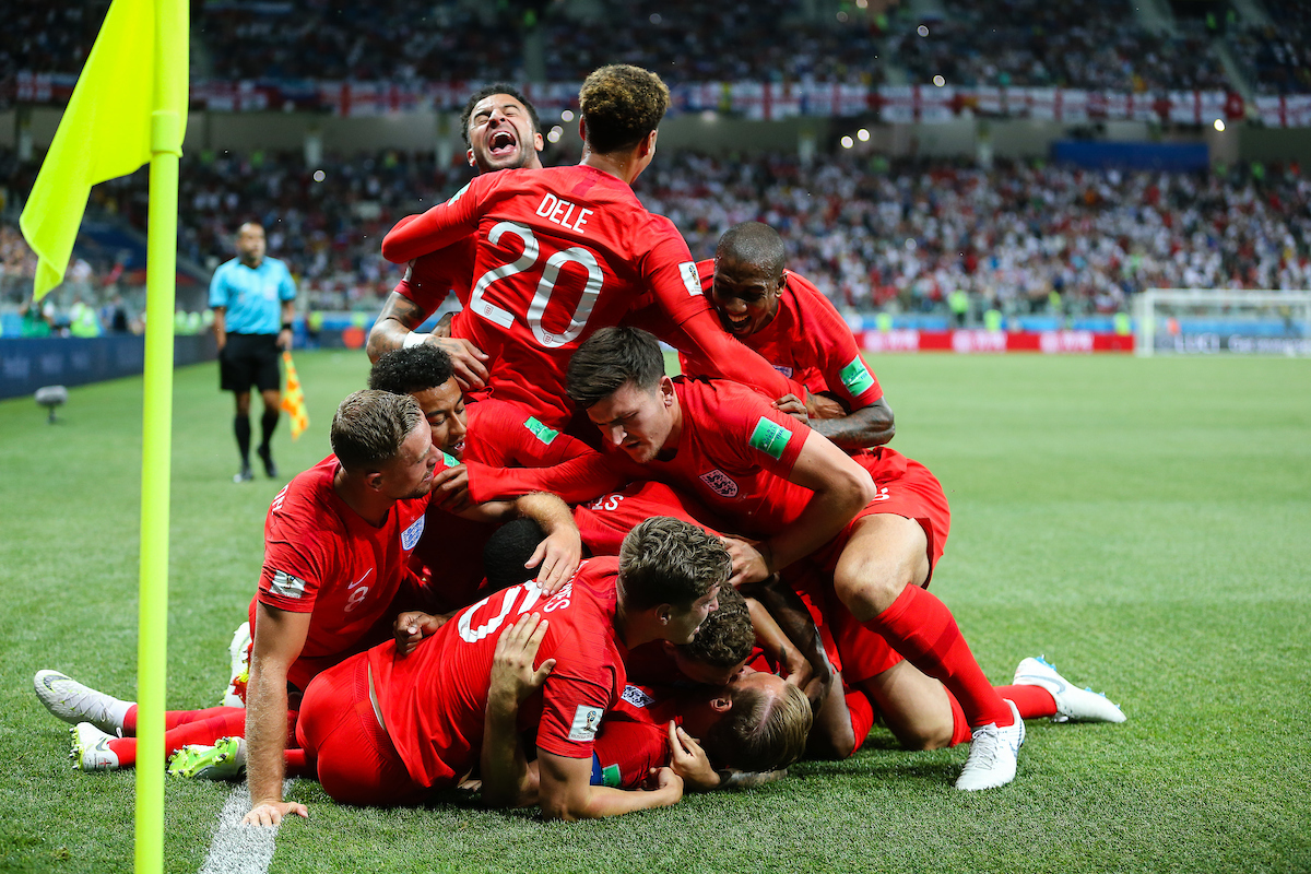England celebrate Harry Kane scoring their first goal during the England v Tunisia 2018 FIFA World Cup match at Volgograd Arena, Volgograd Picture by Paul Chesterton/Focus Images Ltd +44 7904 640267 18/06/2018