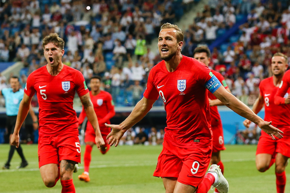 Harry Kane of England celebrates scoring their first goal during the England v Tunisia 2018 FIFA World Cup match at Volgograd Arena, Volgograd Picture by Paul Chesterton/Focus Images Ltd +44 7904 640267 18/06/2018
