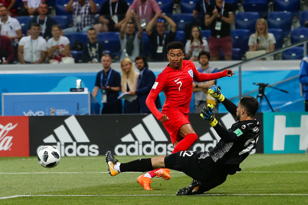 Jesse Lingard of England makes a shot at goal during the England v Tunisia 2018 FIFA World Cup match at Volgograd Arena, Volgograd Picture by Paul Chesterton/Focus Images Ltd +44 7904 640267 18/06/2018
