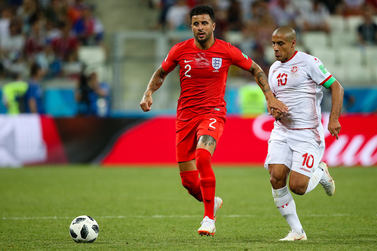 Kyle Walker of England in action during the England v Tunisia 2018 FIFA World Cup match at Volgograd Arena, Volgograd Picture by Paul Chesterton/Focus Images Ltd +44 7904 640267 18/06/2018