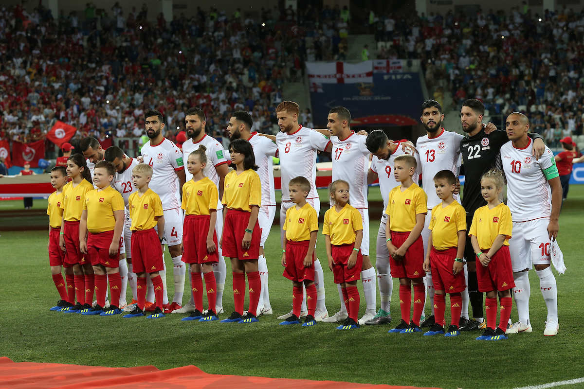The Tunisian players before the 2018 FIFA World Cup match at Volgograd Arena, Volgograd Picture by Paul Chesterton/Focus Images Ltd +44 7904 640267 18/06/2018