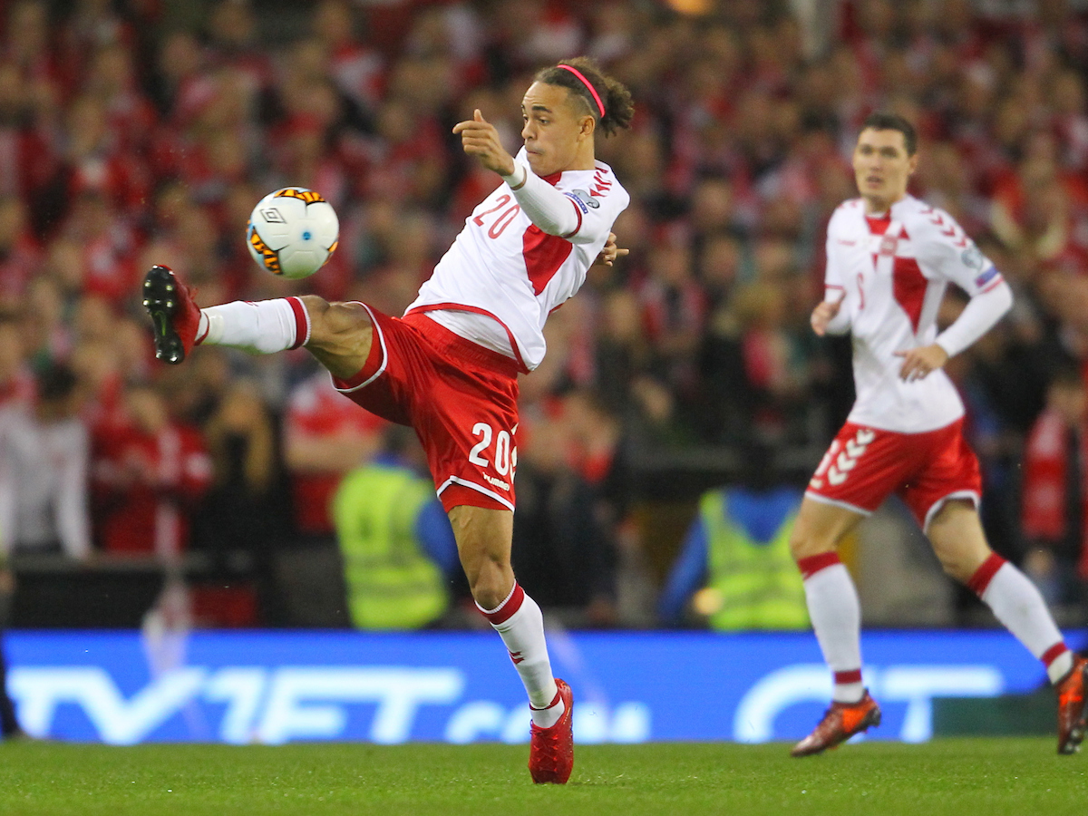 Yussuf Poulsen of Denmark during the 2018 FIFA World Cup Qualifying match at the Aviva Stadium, Dublin Picture by Yannis Halas/Focus Images Ltd +353 8725 82019 14/11/2017
