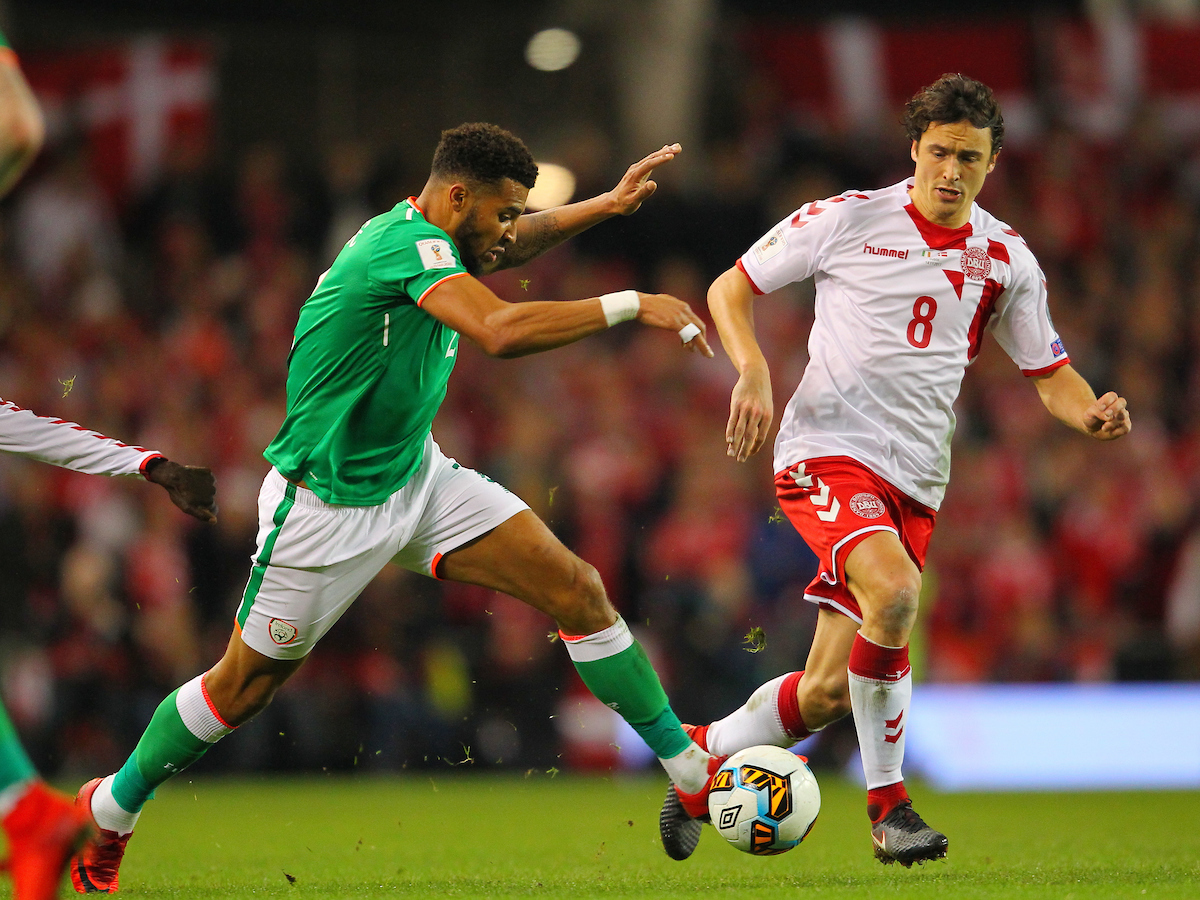 Cyrus Christie of Republic of Ireland and Thomas Delaney of Denmark during the 2018 FIFA World Cup Qualifying match at the Aviva Stadium, Dublin Picture by Yannis Halas/Focus Images Ltd +353 8725 82019 14/11/2017