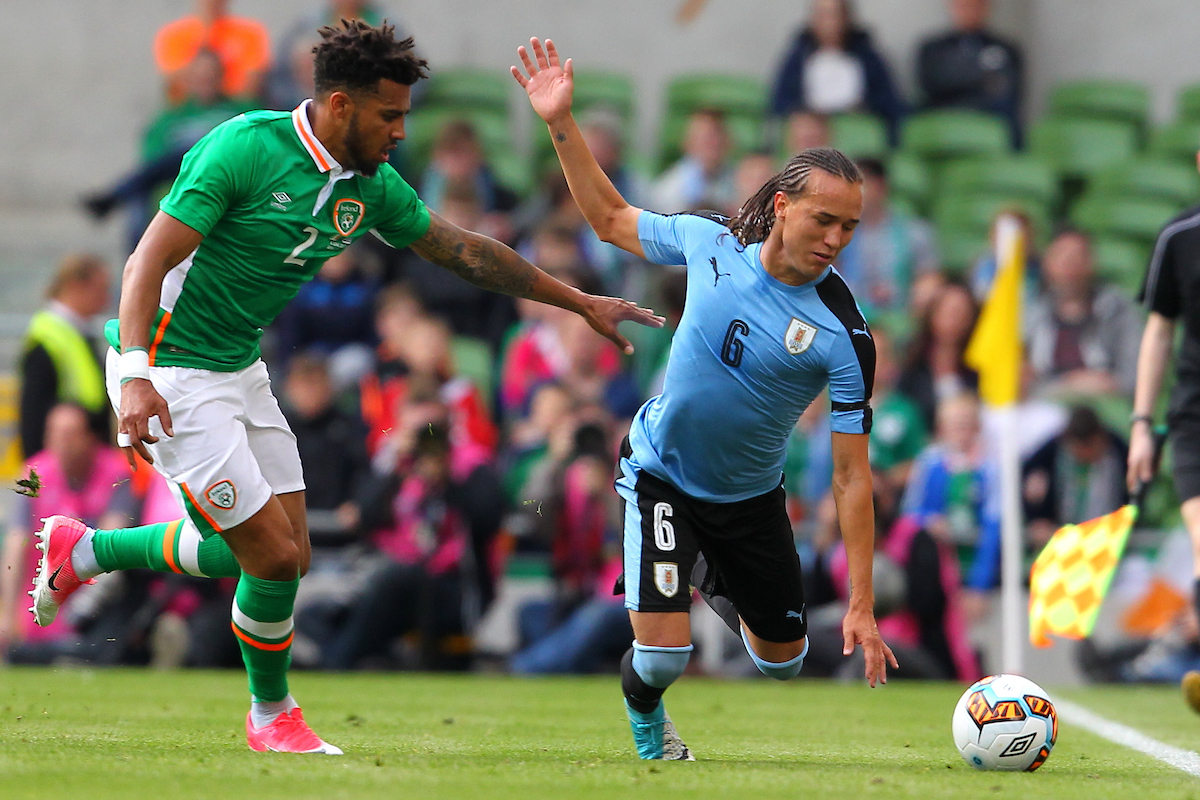 Cyrus Christie of Republic of Ireland and Diego Laxalt of Uruguay during the International Friendly match at the Aviva Stadium, Dublin Picture by Yannis Halas/Focus Images Ltd +353 8725 82019 04/06/2017