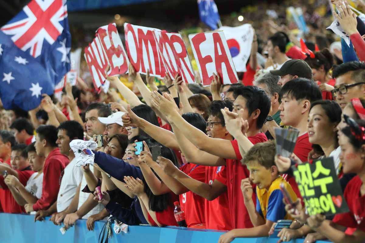 Korea Republic fans during the AFC Asian Cup match at Stadium Australia, Sydney Picture by Steven Gibson/Focus Images Ltd +61 413 768835 31/01/2015