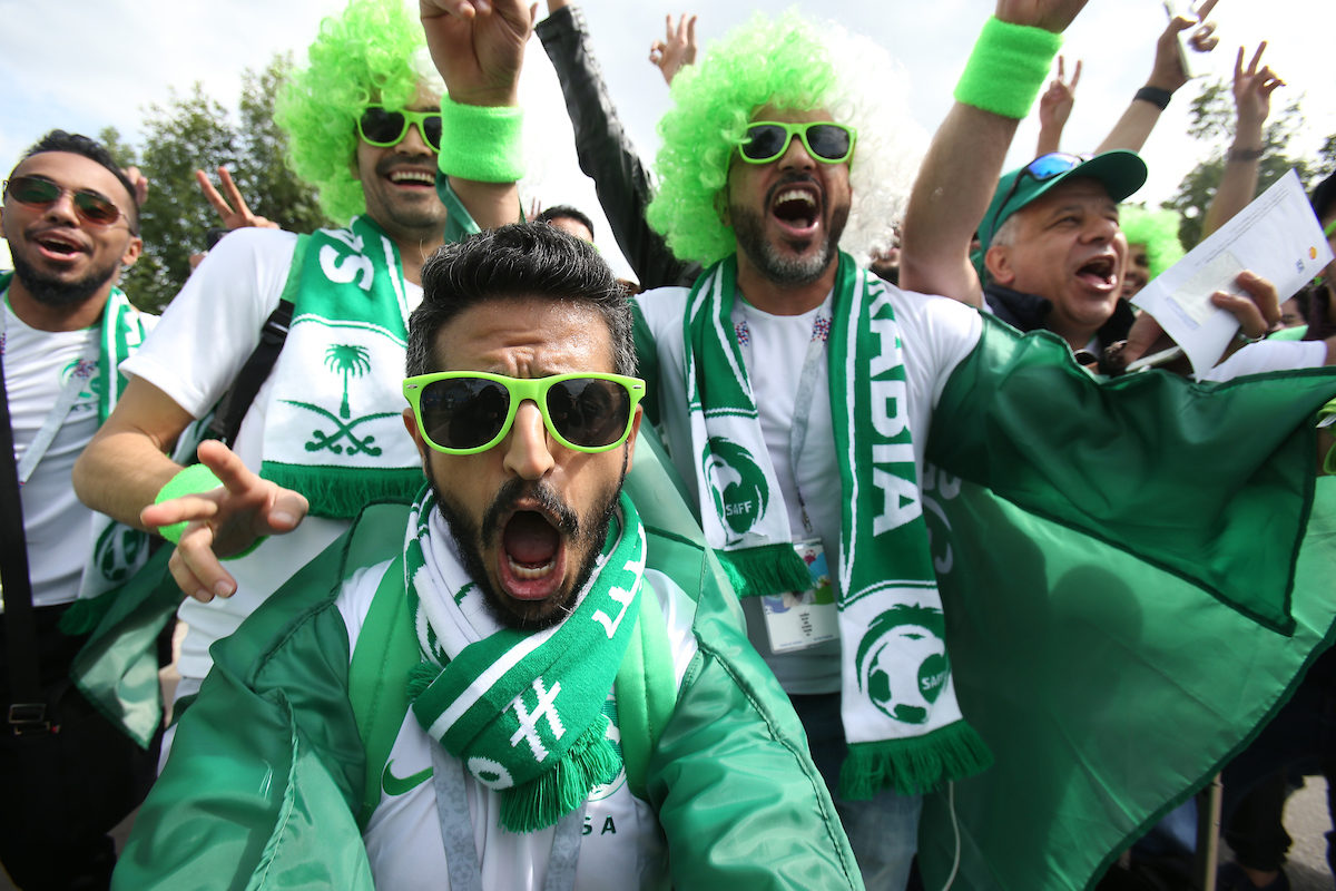 Saudi Arabia fans pictured during the opening ceremony of FIFA World Cup Russia 2018 at Luzhniki Stadium, Moscow Picture by Paul Chesterton/Focus Images Ltd +44 7904 640267 14/06/2018