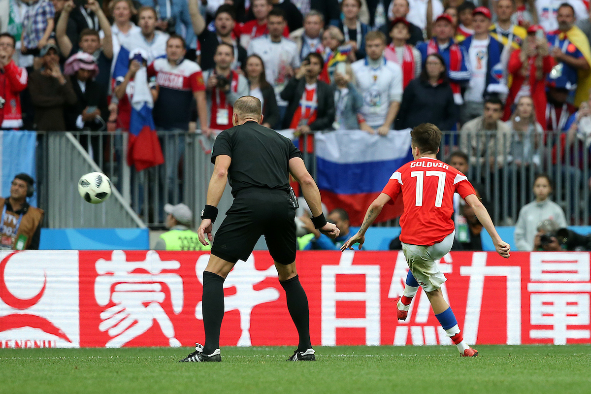 Aleksandr Golovin of Russia scores his sides 5th goal from a free kick during the opening match of the 2018 FIFA World Cup at Luzhniki Stadium, Moscow Picture by Paul Chesterton/Focus Images Ltd +44 7904 640267 14/06/2018