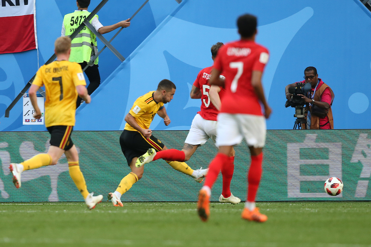 Eden Hazard of Belgium scores his sides 2nd goal during the 2018 FIFA World Cup 3rd/4th Play Off match at St Petersburg Stadium, St Petersburg Picture by Paul Chesterton/Focus Images Ltd +44 7904 640267 14/07/2018