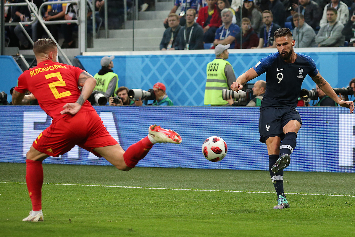 Olivier Giroud of France crosses the ball during the 2018 FIFA World Cup match at St Petersburg Stadium, St Petersburg Picture by Paul Chesterton/Focus Images Ltd +44 7904 640267 10/07/2018