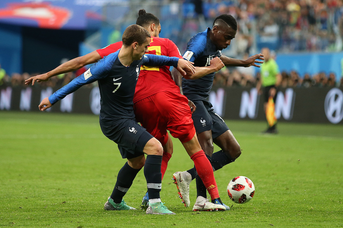 Antoine Griezmann of France and Blaise Matuidi of France combine to disposes Nacer Chadli of Belgium during the 2018 FIFA World Cup match at St Petersburg Stadium, St Petersburg Picture by Paul Chesterton/Focus Images Ltd +44 7904 640267 10/07/2018