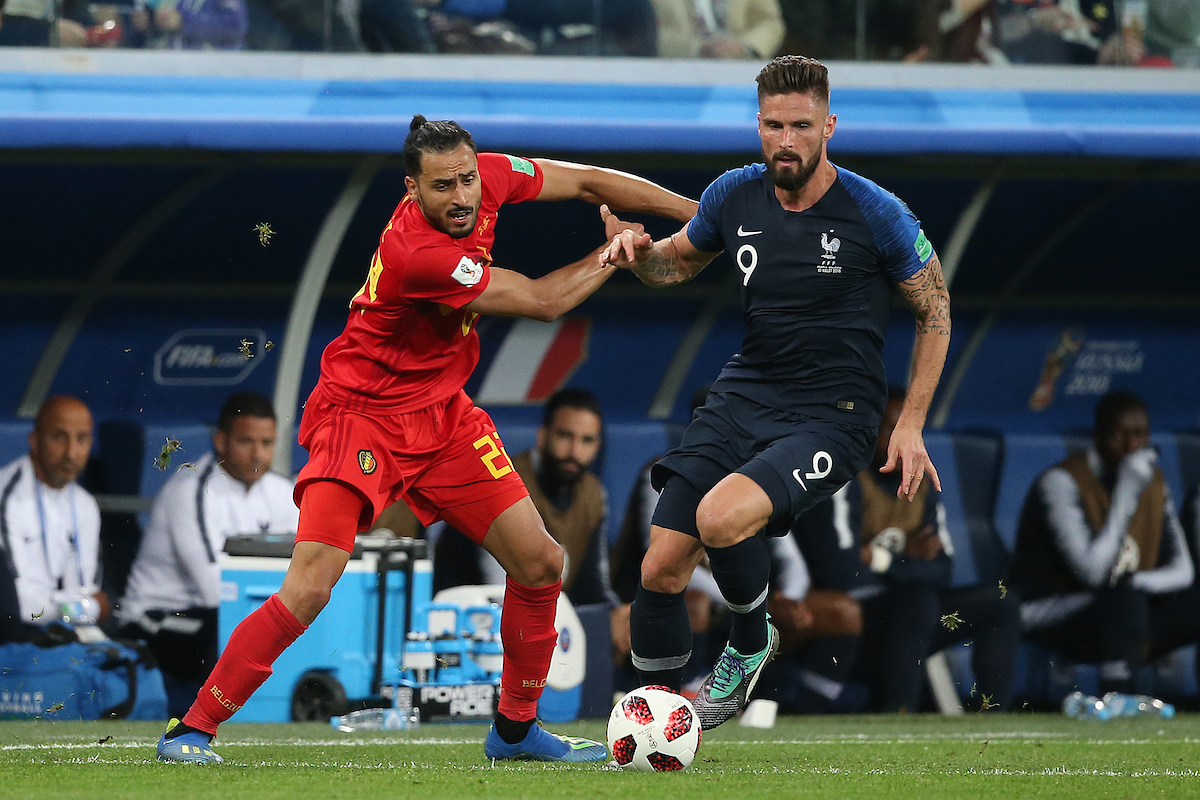 Nacer Chadli of Belgium and Olivier Giroud of France in action during the 2018 FIFA World Cup match at St Petersburg Stadium, St Petersburg Picture by Paul Chesterton/Focus Images Ltd +44 7904 640267 10/07/2018