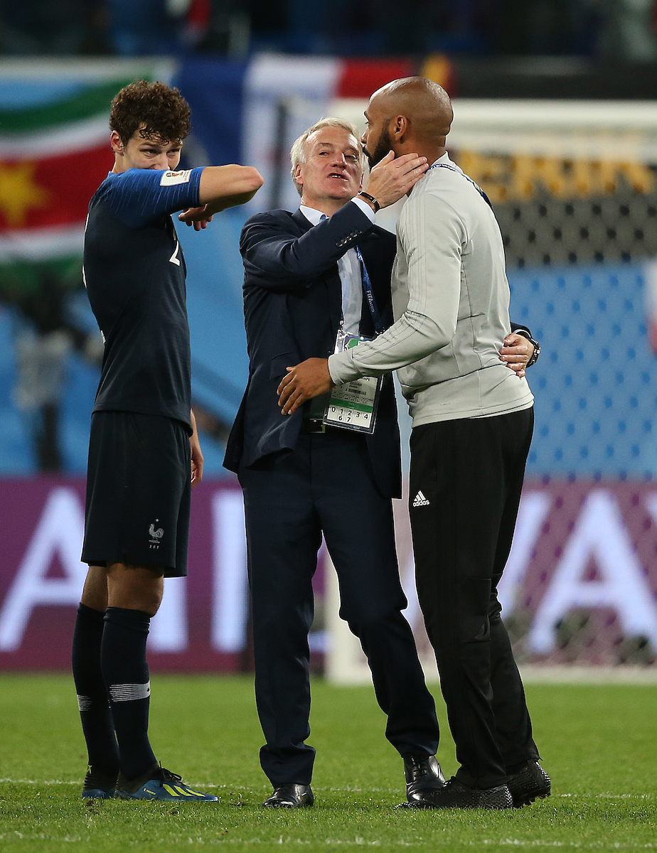Belgium Assistant coach Thierry Henry hugs France Manager Didier Deschamps at the end of the 2018 FIFA World Cup match at St Petersburg Stadium, St Petersburg Picture by Paul Chesterton/Focus Images Ltd +44 7904 640267 10/07/2018