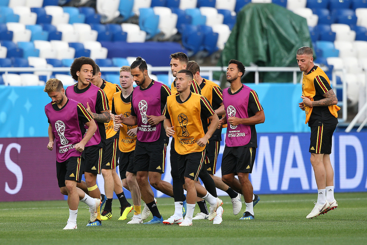 The Belgium players during the Belgium training session at Kaliningrad Stadium, Kaliningrad Picture by Paul Chesterton/Focus Images Ltd +44 7904 640267 27/06/2018