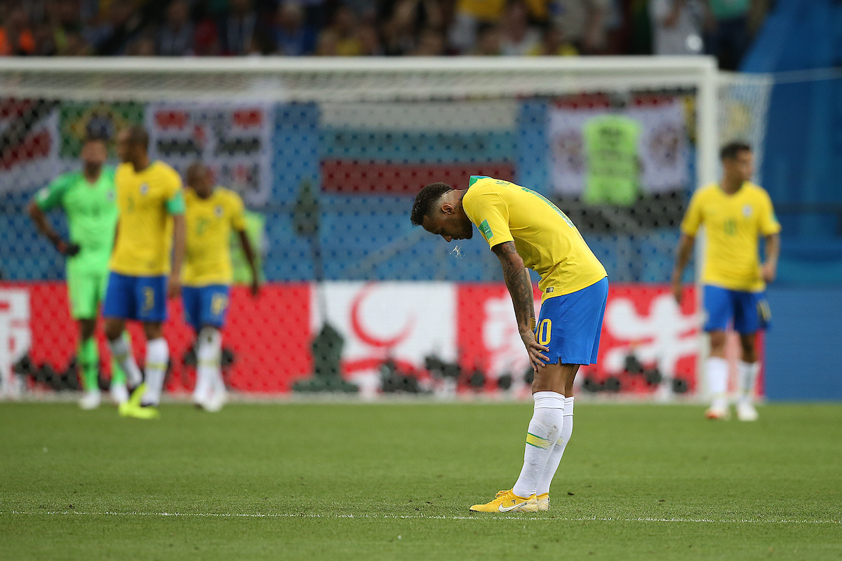 Neymar of Brazil looks dejected after his side concedes it's 2nd goal during the 2018 FIFA World Cup Quarter-Final match at Kazan Arena, Kazan Picture by Paul Chesterton/Focus Images Ltd +44 7904 640267 06/07/2018
