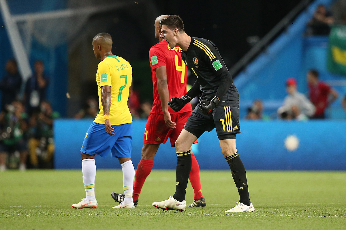 Thibaut Courtois of Belgium celebrates victory at the end of the 2018 FIFA World Cup Quarter-Final match at Kazan Arena, Kazan Picture by Paul Chesterton/Focus Images Ltd +44 7904 640267 06/07/2018