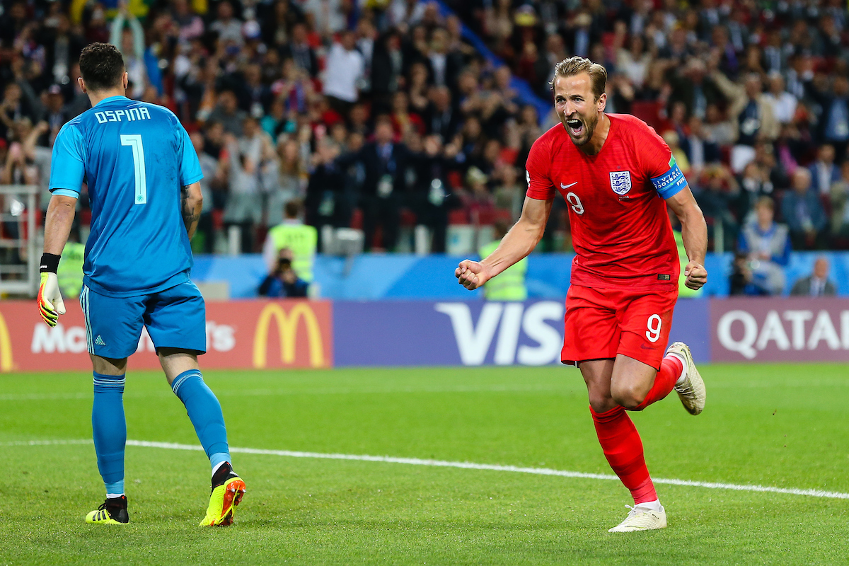 Harry Kane(c) of England celebrates scoring the first goal from a penalty during the Colombia v England 2018 FIFA World Cup match at Spartak Stadium, Moscow Picture by Paul Chesterton/Focus Images Ltd +44 7904 640267 03/07/2018