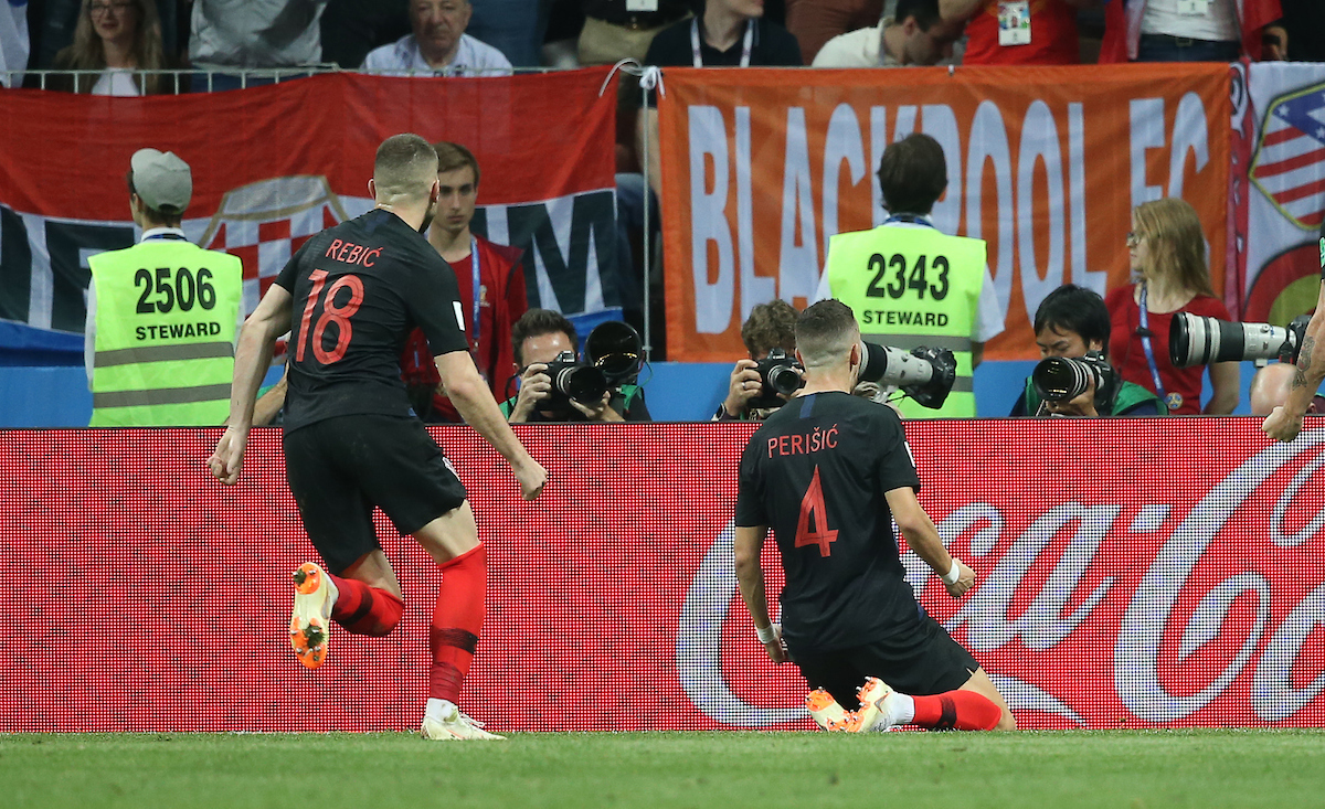 Ivan Perisic of Croatia celebrates after scoring their first goal during the 2018 FIFA World Cup match at Luzhniki Stadium, Moscow Picture by Paul Chesterton/Focus Images Ltd +44 7904 640267 11/07/2018