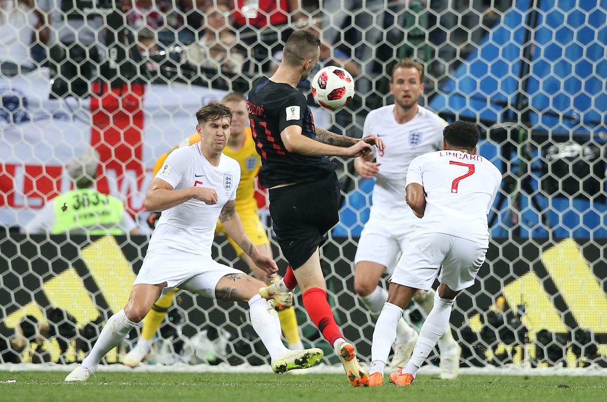 Marcelo Brozovic of Croatia shoots for goal during the 2018 FIFA World Cup match at Luzhniki Stadium, Moscow Picture by Paul Chesterton/Focus Images Ltd +44 7904 640267 11/07/2018