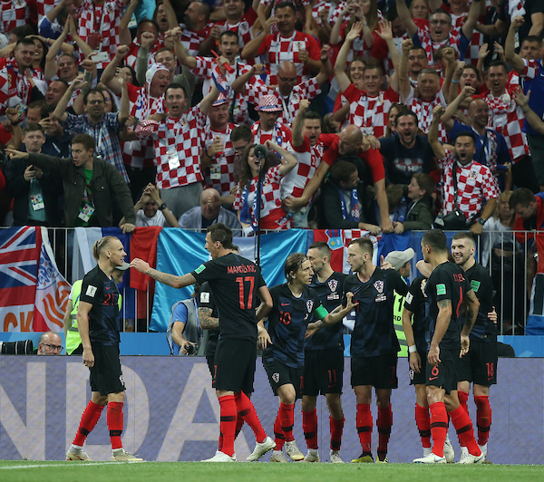 Players of Croatia celebrate their goal during the 2018 FIFA World Cup match at Luzhniki Stadium, Moscow Picture by Paul Chesterton/Focus Images Ltd +44 7904 640267 11/07/2018