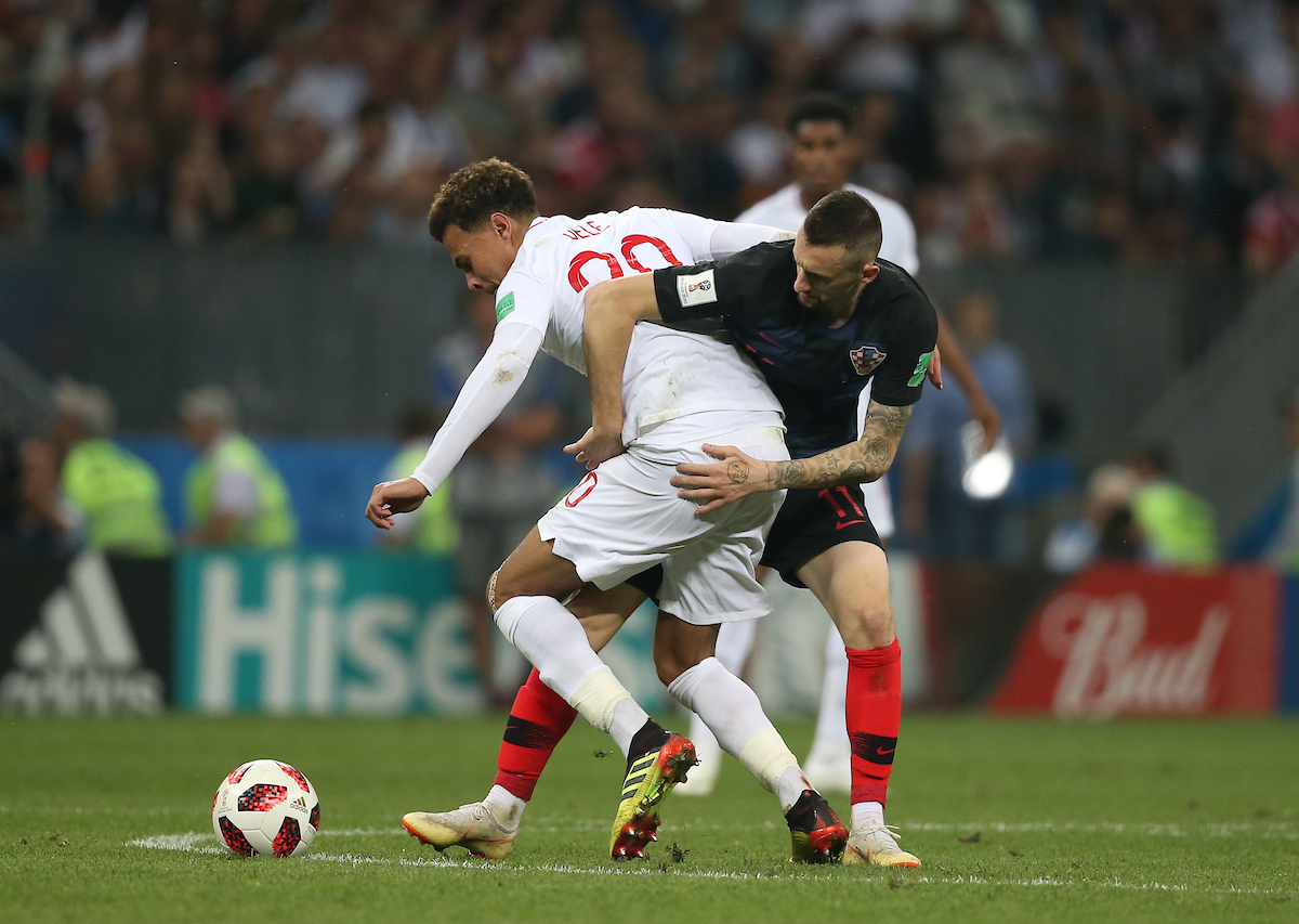 Marcelo Brozovic of Croatia and Dele Alli of England during the 2018 FIFA World Cup match at Luzhniki Stadium, Moscow Picture by Paul Chesterton/Focus Images Ltd +44 7904 640267 11/07/2018