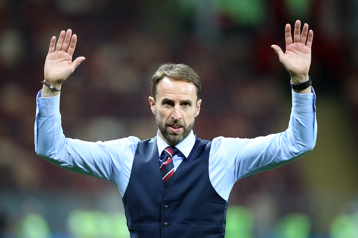 England Manager Gareth Southgate gets emotional as he waves and says thanks to the travelling England fans at the end of the 2018 FIFA World Cup Semi Final match at Luzhniki Stadium, Moscow Picture by Paul Chesterton/Focus Images Ltd +44 7904 640267 11/07/2018