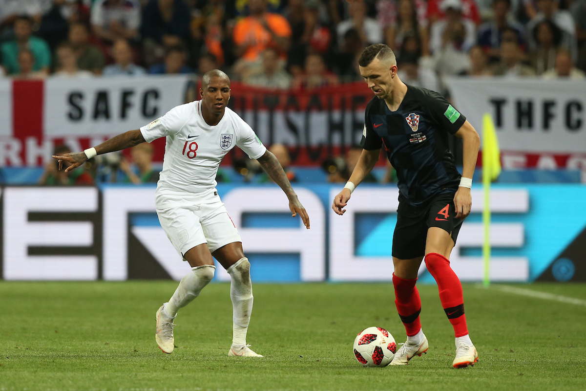 Ashley Young of England and Ivan Perisic of Croatia in action during the 2018 FIFA World Cup Semi Final match at Luzhniki Stadium, Moscow Picture by Paul Chesterton/Focus Images Ltd +44 7904 640267 11/07/2018