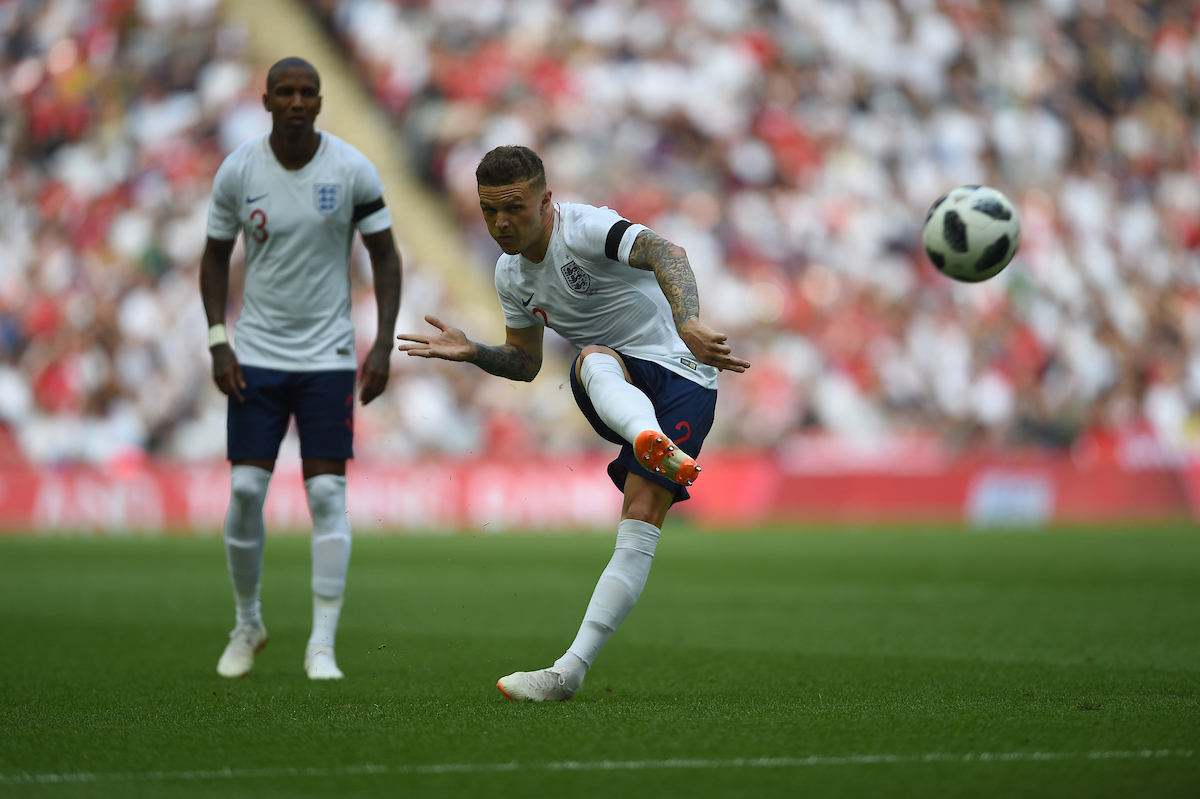 Kieran Trippier of England takes a free kick which is saved and England score from the subsequent corner during the International Friendly match at Wembley Stadium, London Picture by Daniel Hambury/Focus Images Ltd 07813022858 02/06/2018