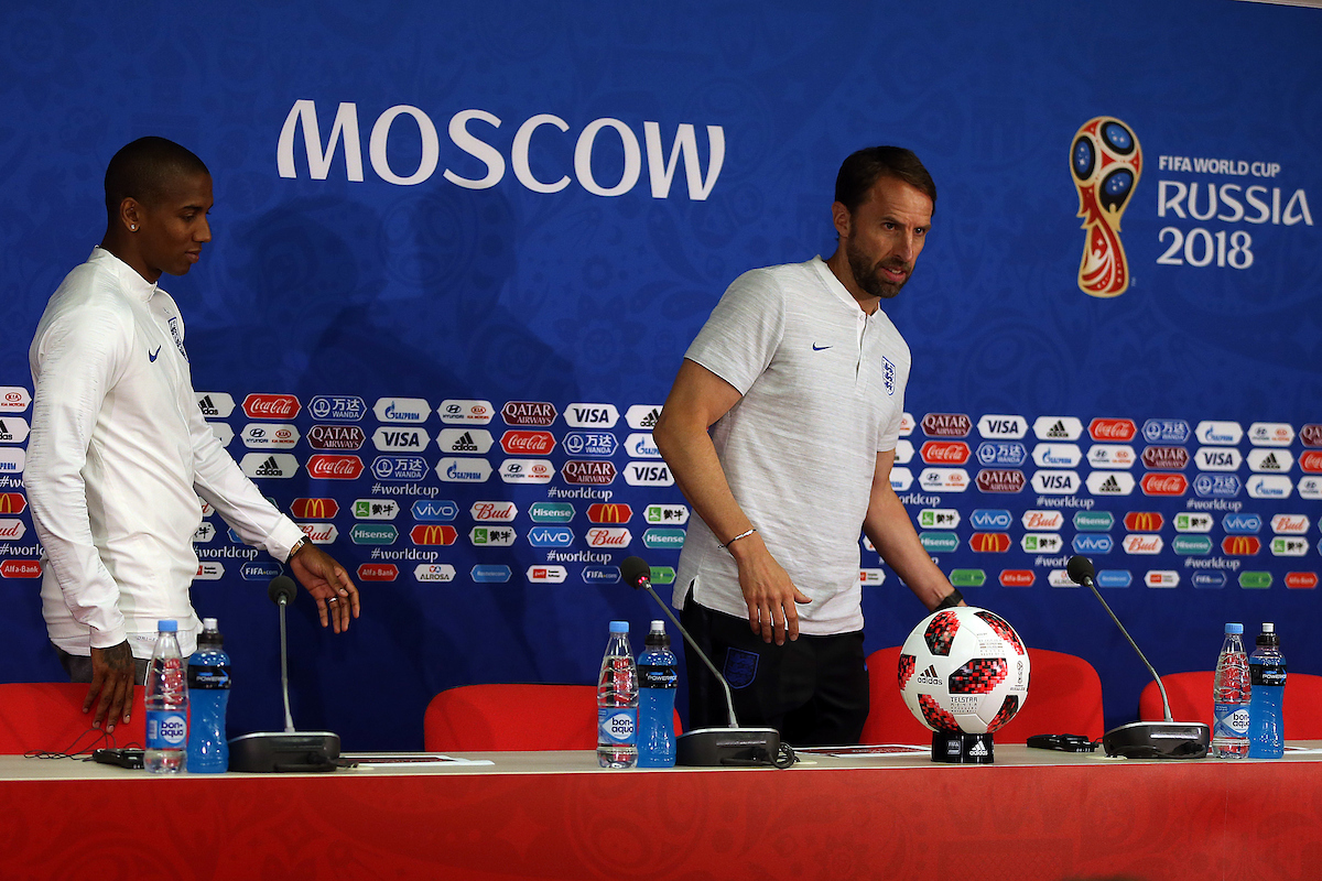 Ashley Young of England and England Manager Gareth Southgate during the England press conference at Spartak Stadium, Moscow Picture by Paul Chesterton/Focus Images Ltd +44 7904 640267 02/07/2018